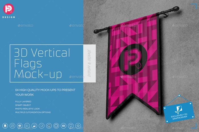 High Resolution 3D Vertical Mockup (Set 3)