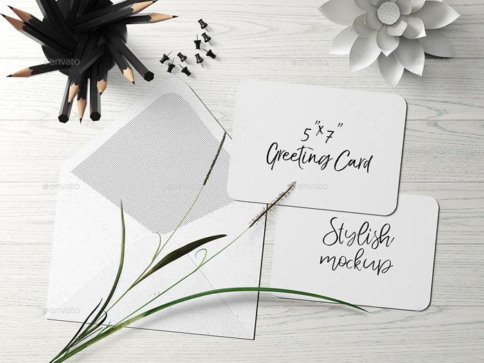 5*7 Rounded Corners Greeting Card/Post Card Mock-Up—Set 1