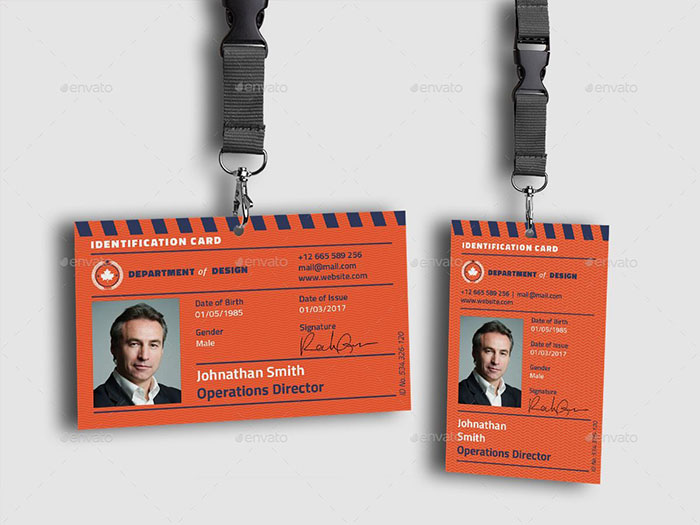 Lanyard Card Mockup With Filled Background