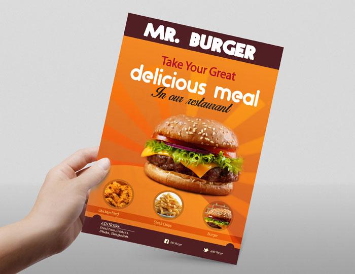 Free Restaurant Flyer Design/ Mockup Freebie