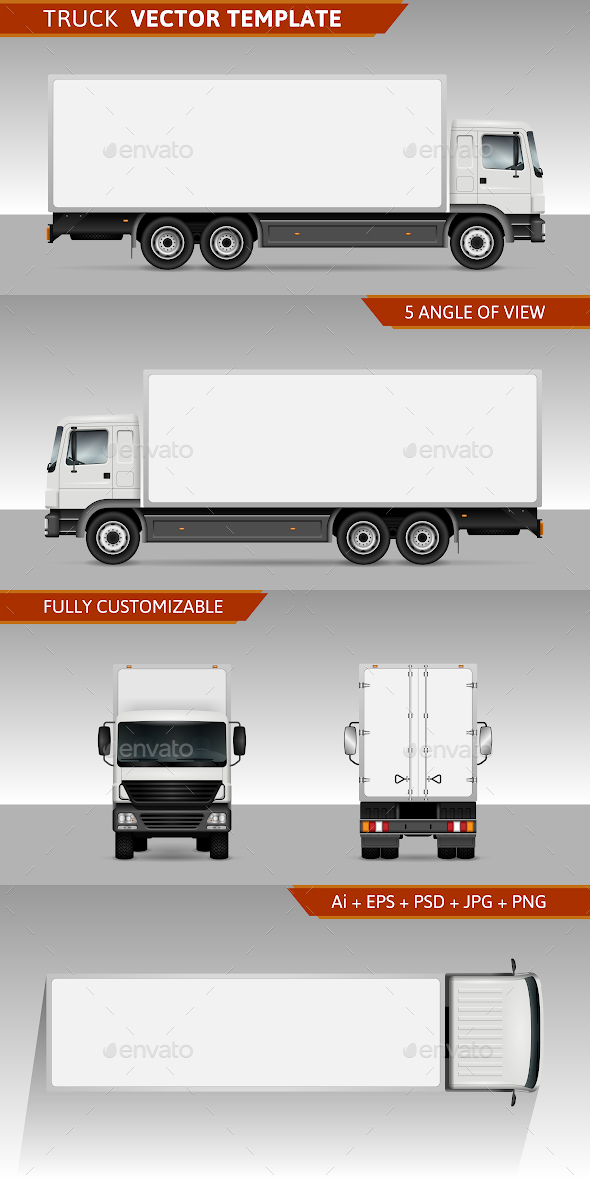 Pure Delivery Truck Mockup (Vector)