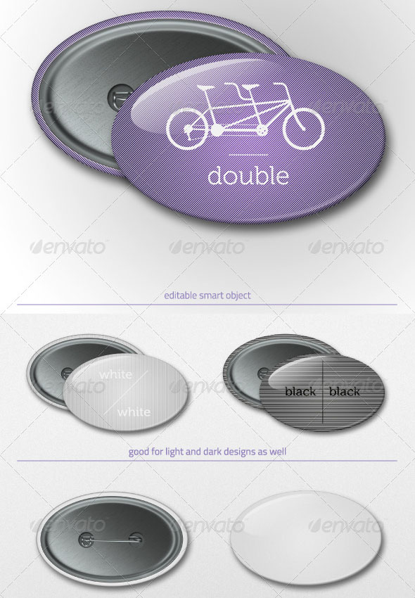 Pin Oval Button Badge Mockup