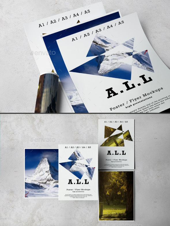 A3 / A4 / A5 Flyer/Poster Mockups