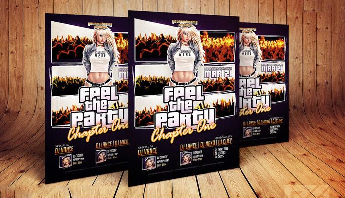 Free PSD GTA Style Club Flyer