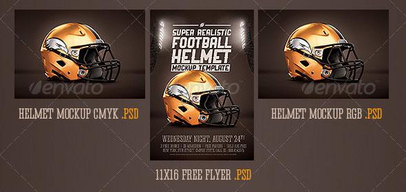 Premium Realistic Football Helmet Mockup