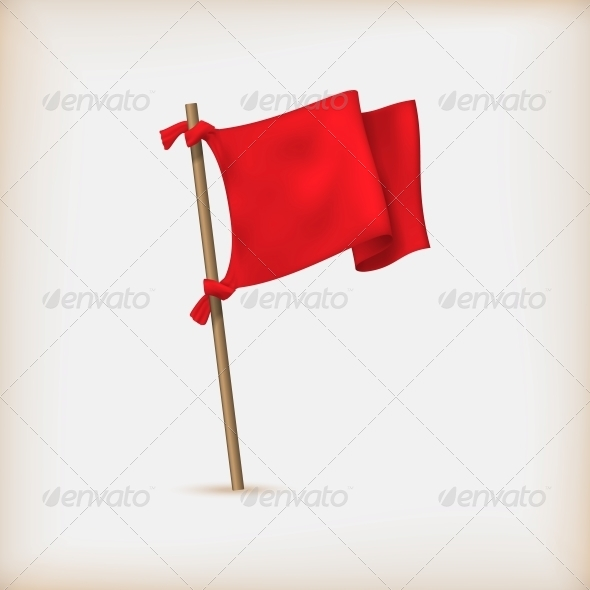 Realistic Red Flag Icon. Vector Illustration