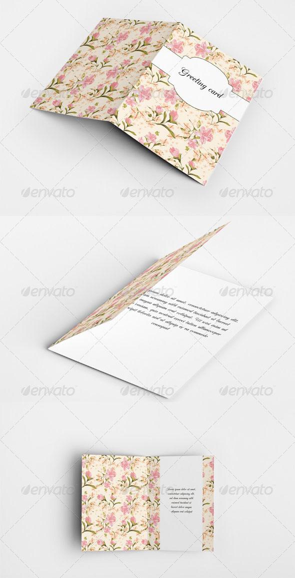 Floral Greeting Cards/ Invitation Mock-Up Set