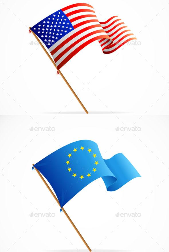 Premium Waving Flag Set Vector