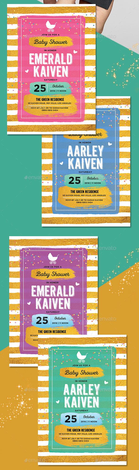 Gold Baby Shower Invitation