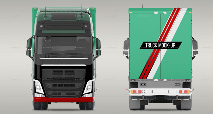 Green Color Truck Mockup (Editable)