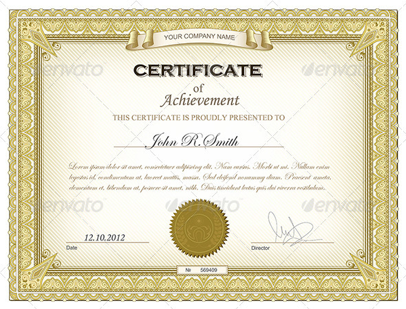 Premium Gold Certificate