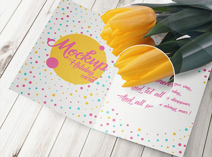 Holiday Card with A Tulip -- 6 Free PSD Mock-Ups