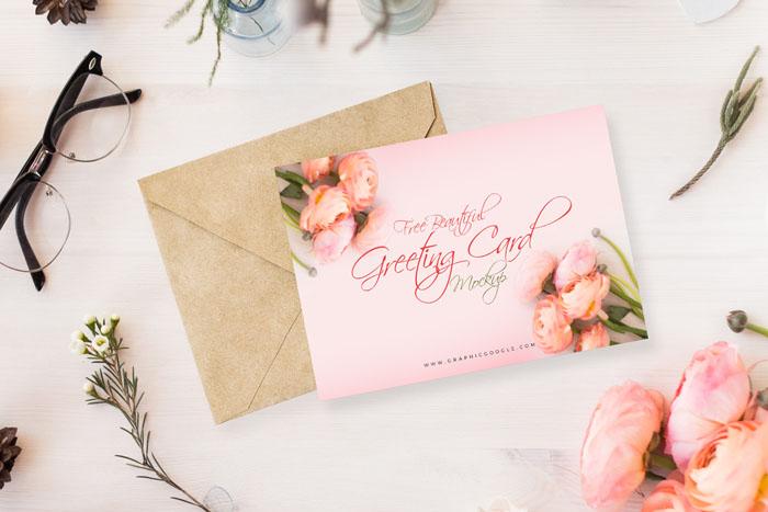 Free Beautiful Greeting Card Mockup PSD