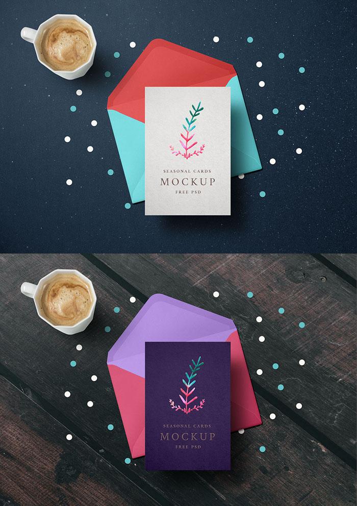Holiday Greeting Card Mockup PSD