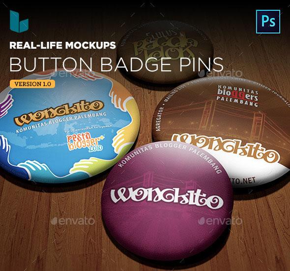 Premium Button Badge Pin Real-life Mock-ups