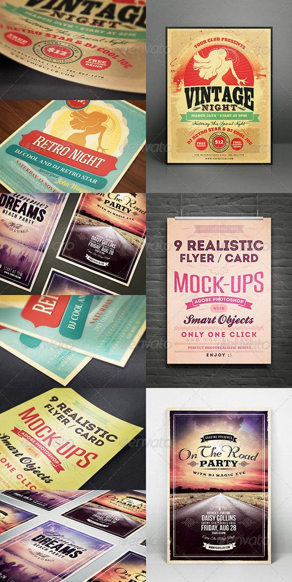 Realistic Flyer/Card Mockups Vol 01