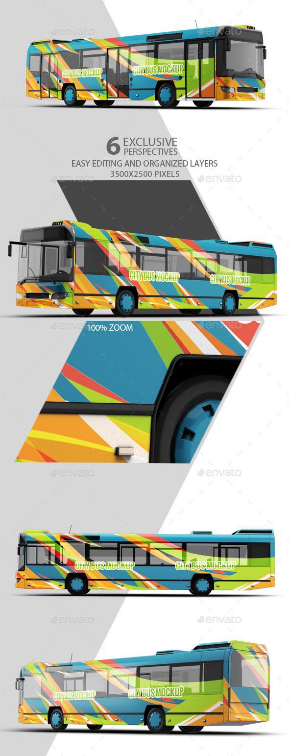 Realistic City Bus Mockup