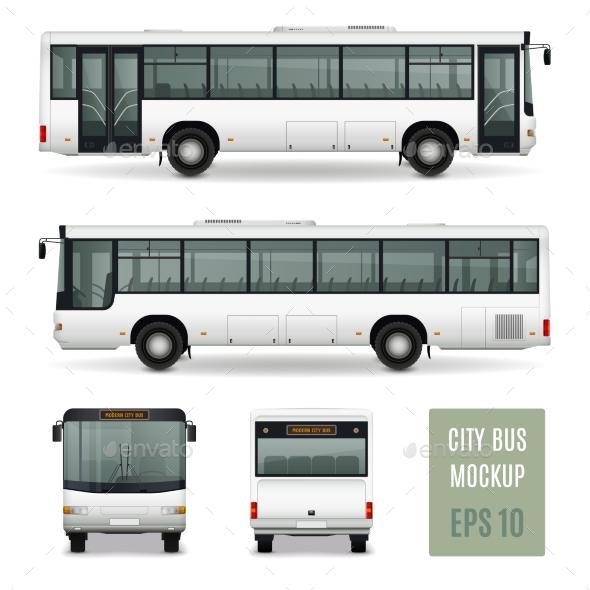 Premium City Bus Realistic Advertising Template