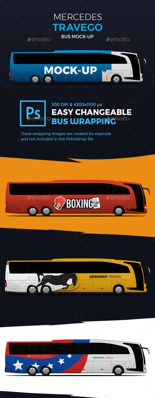 Mercedes Travego Bus Mockup Premium