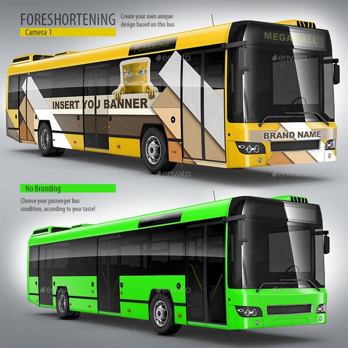 Premium Passenger Bus, Coach Bus Mockup