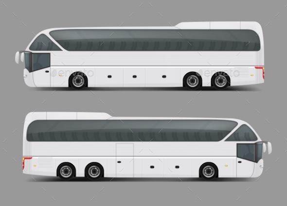 Private Charter Tour or Coach Bus Realistic Vector Premium