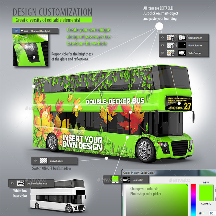 Premium 3D School Bus Mock-Up