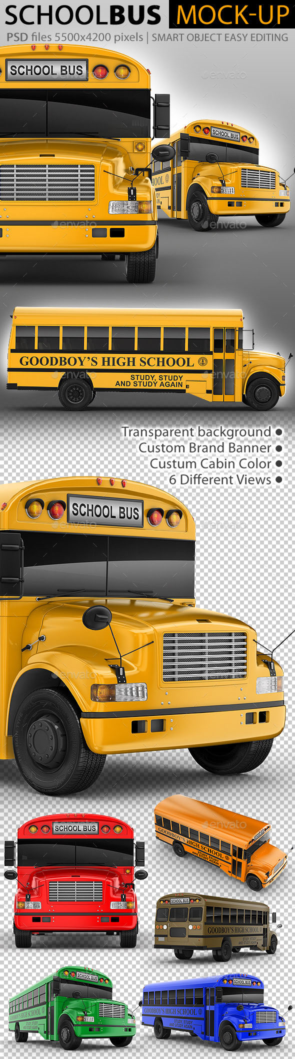Easy Editing 3D Mockup for School Bus