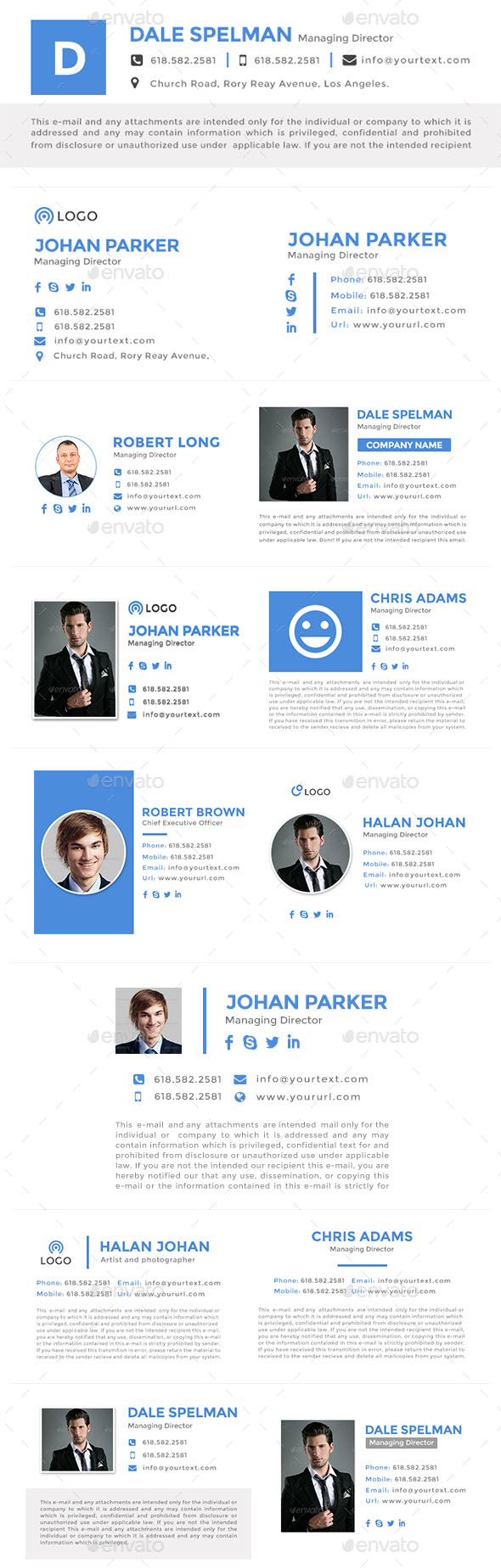885 Flat & Modern Email Signatures – HTML & PSD Files