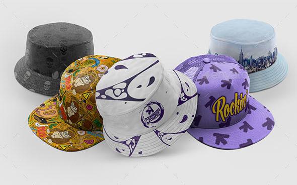 Cap Bucket Hat Mockup Bundle