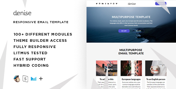 Best Responsive Email Newsletter Templates HTML PSD - Hybrid email template