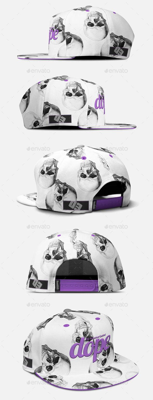 2x Snapback Cap (5 and  Panels) Mockup