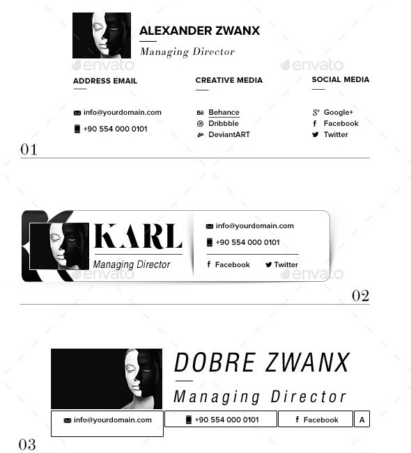 51+ Awesome Email Signature Templates 2017 (HTML, PSD)