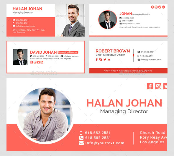Email Signature Bundle – 60 PSD and 60 HTML Files