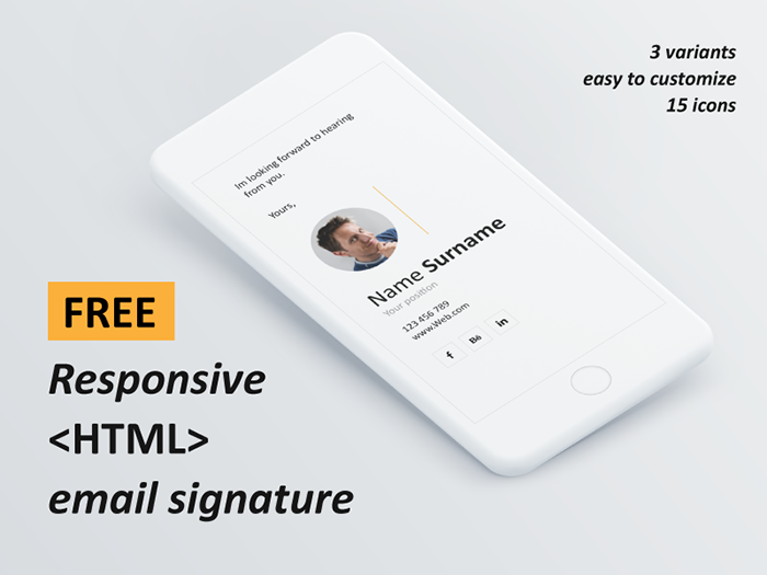 Free responsive HTML email signature