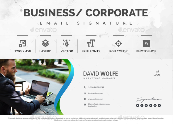 51 awesome email signature templates 2017 html psd corporate business premium email signature template wajeb Images