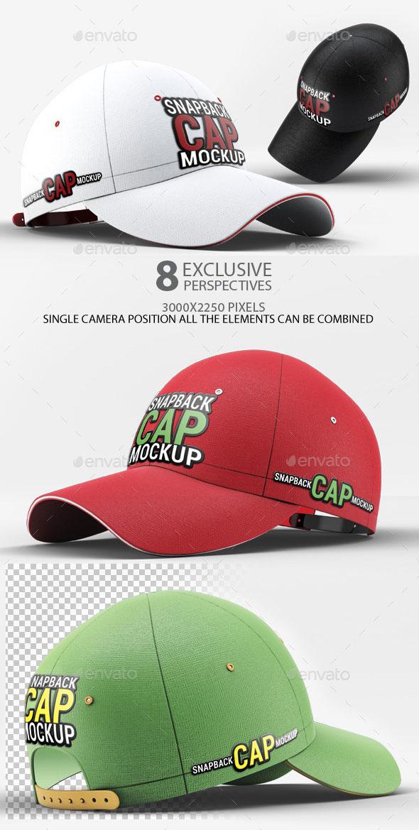 3D Realistic Snapback Baseball Cap Mockup