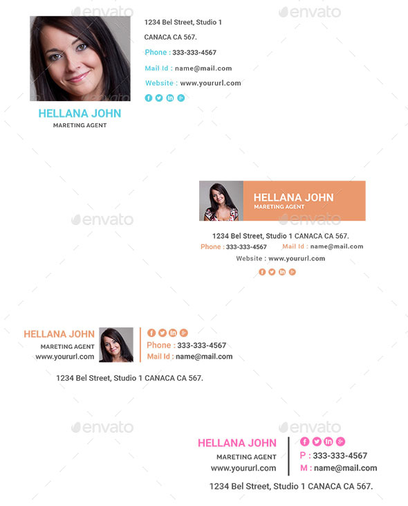 Email Signatures Templates – 300 Variations – 30 Designs – HTML Files Included