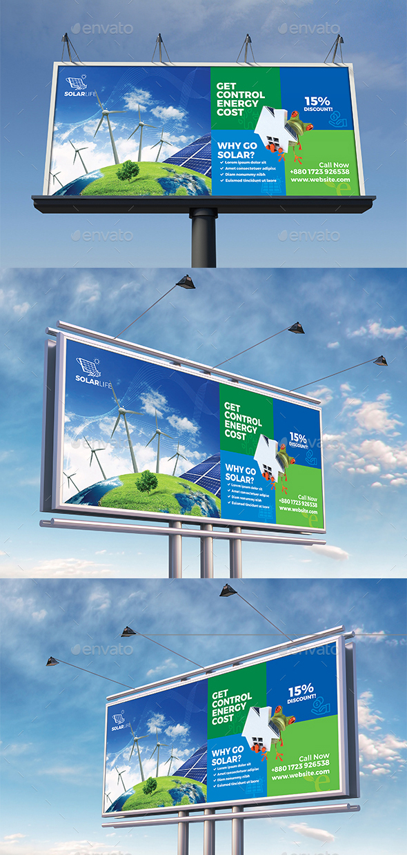 Green Energy or Solar Energy Billboard Template