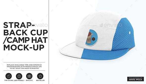 Strapback Cap / Camp Hat Mockup