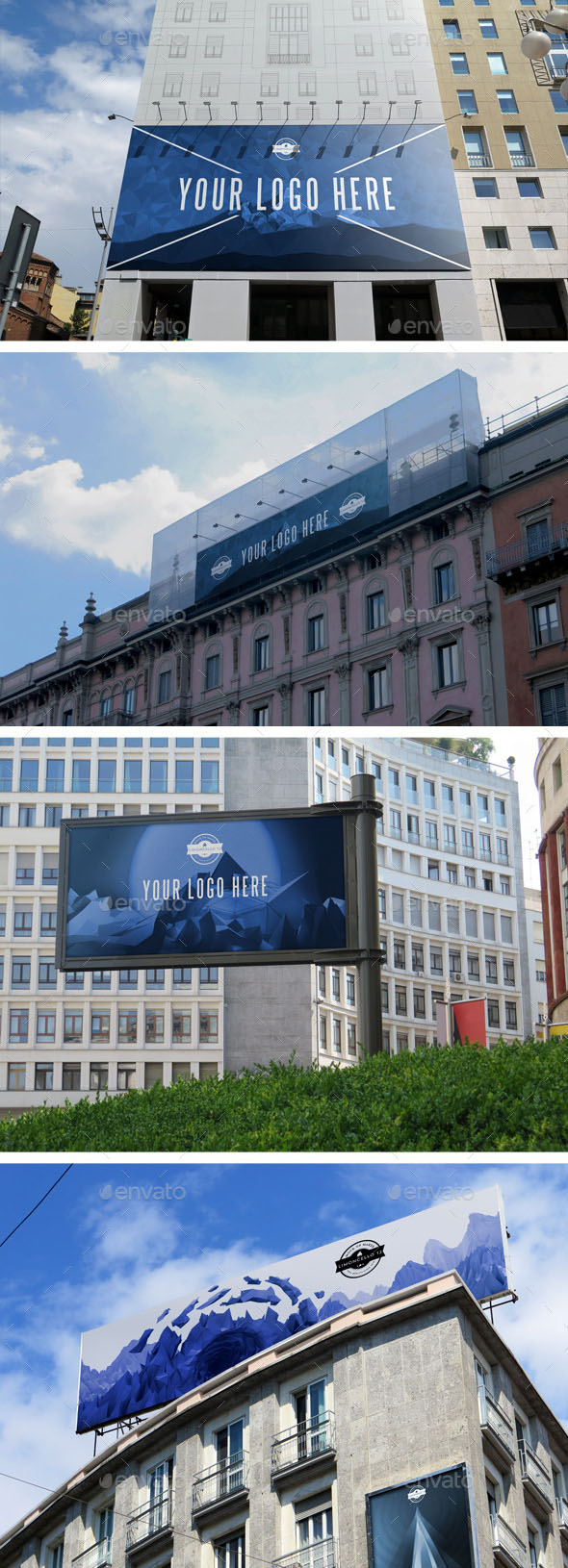 4 Photorealistic Outdoor Advertising Mockups