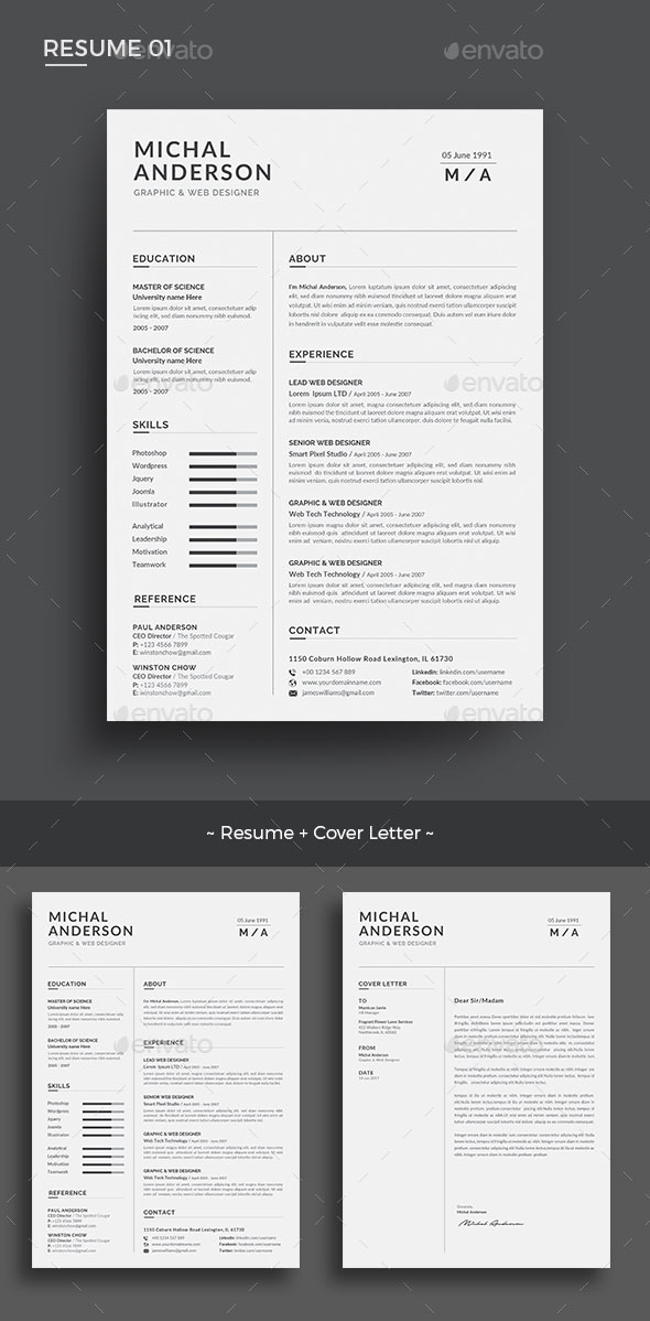60  awesome resume cv templates 2019  word  indesign  psd