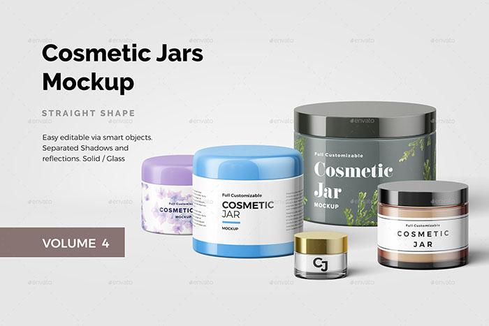 Straight Shape Cosmetic Jar Mockup