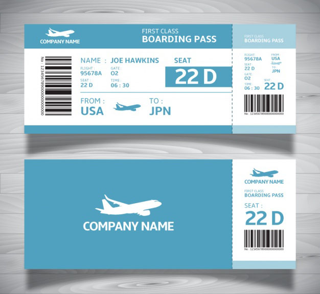Boarding Ticket Pass Template in Blue Tones – Free