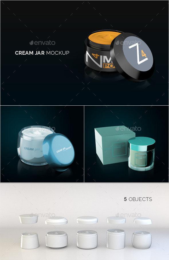 Premium – Cream Jar Packaging Mockup