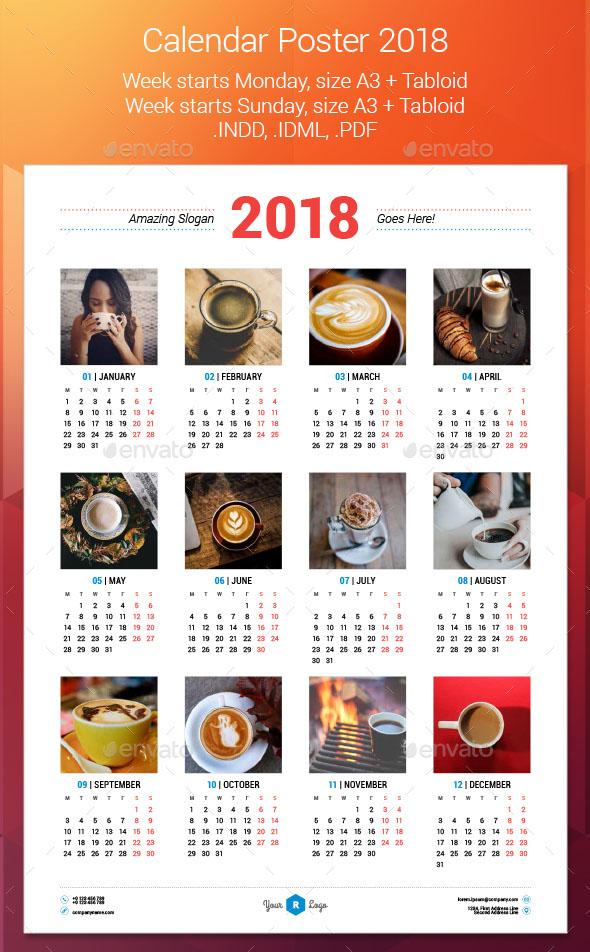 Calendar Poster Size : Best calendar templates psd vector indesign