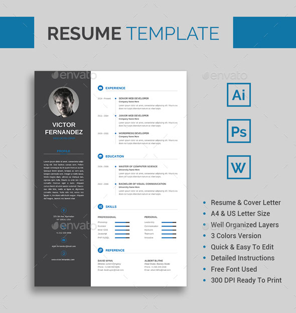fully editable resume template victor