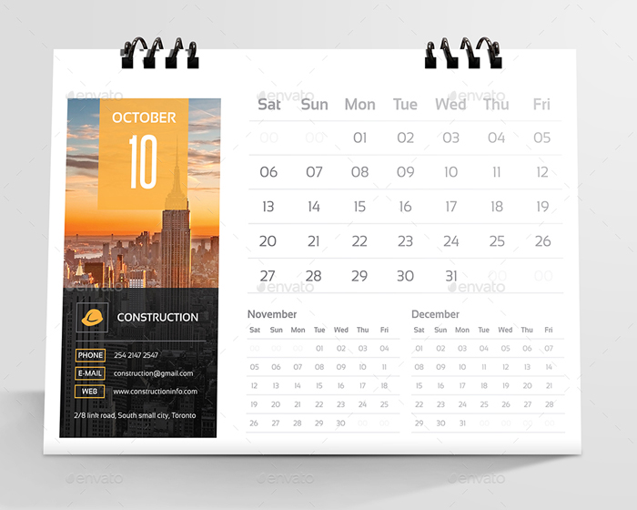 Construction Desk Calendar 2018