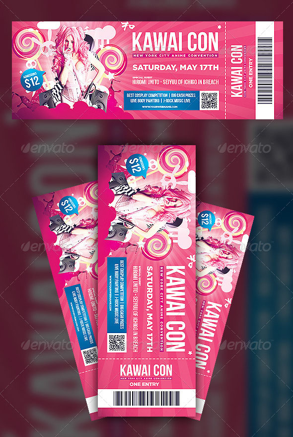 Anime Convention Ticket Template