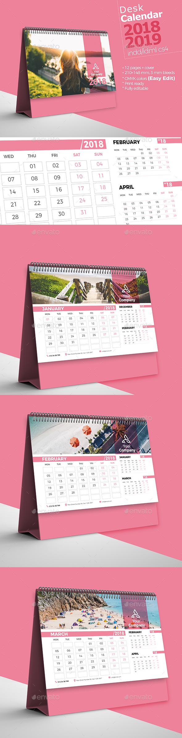 Colorful Desk Calendar 2018-19