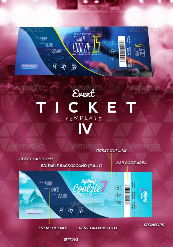 Perfect PSD Event Ticket Template Maker 4 For Event Ticket Template Free Download